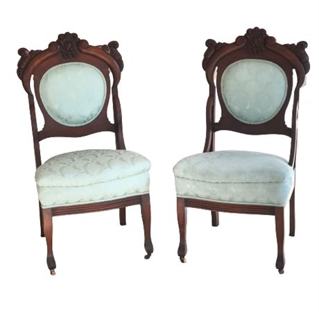 Victorian Era Carved Parlor Chair Set