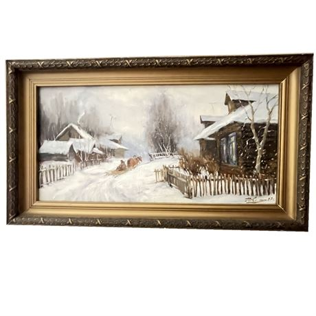 Oil on Canvas Winter Scene, Signed and Dated