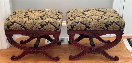 Pair of Mahogany Upholstered Stools