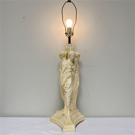 Vintage chalkware lamp - The Three Graces