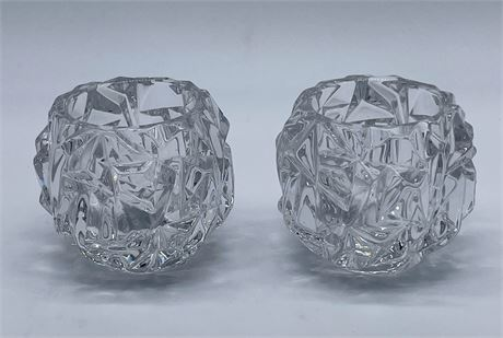 Pair of Tiffany Signed Rock Cut Crystal Votives