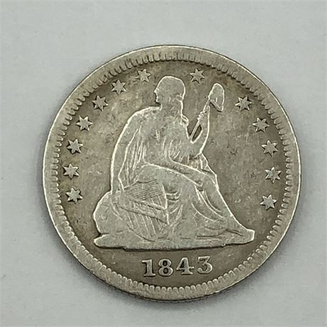 1843 Seated Liberty Quarter Coin