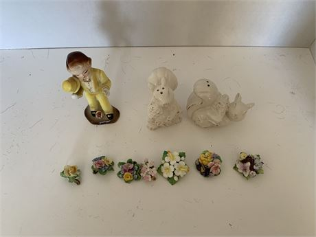 Capodimonte pins and earrings
