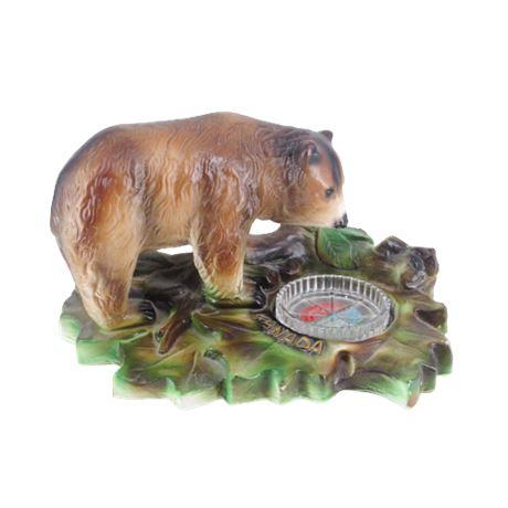 Brown Bear Figurine Vintage Souvenir Of Canada Chalkware Ashtray