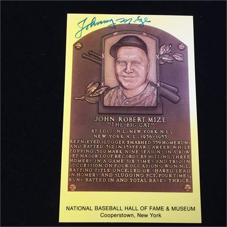 John Mize Autographed HOF Postcard