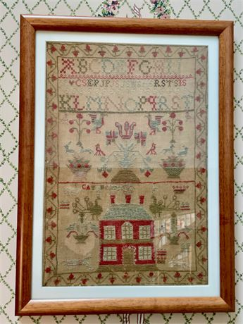 19th C. Sampler with Red House and Cats