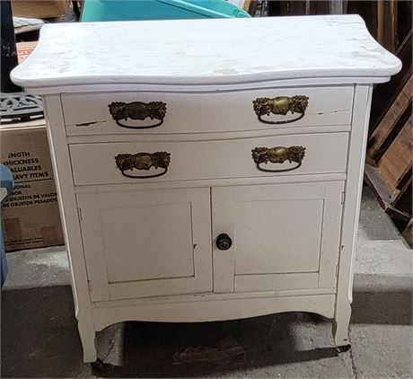 Antique Painted White Washstand