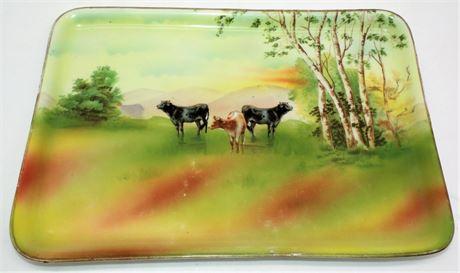 "Royal Bayreuth Bavaria Tray Cow scene 11"""