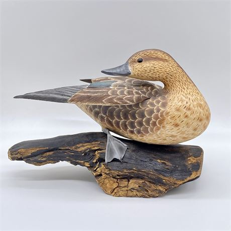 Original - Signed - William Veasey Carved and Hand Painted Duck Decoy