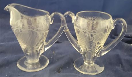 Etched Creamer and Sugar