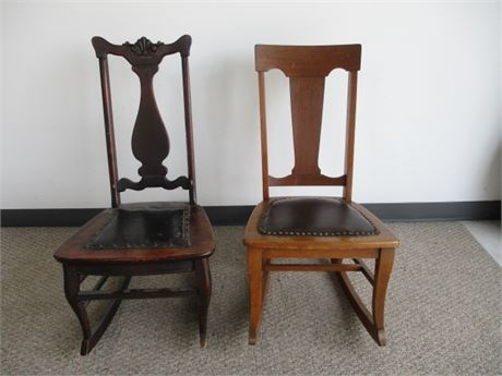 Two Leather Seated Rockers