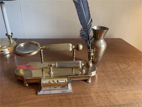 Brass Desk Accessories Vintage