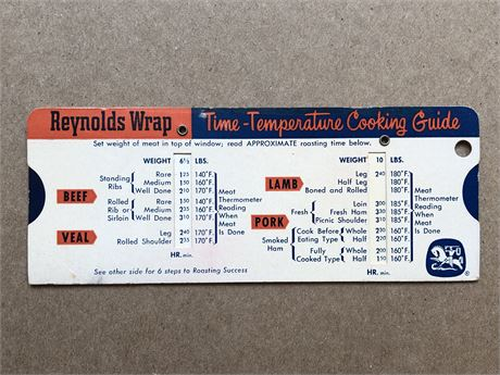 Vintage 1959 Reynolds Wrap Time Temperature Cooking Guide