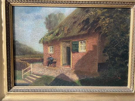 """19th C Continental Painting """"Thatched House"""""""