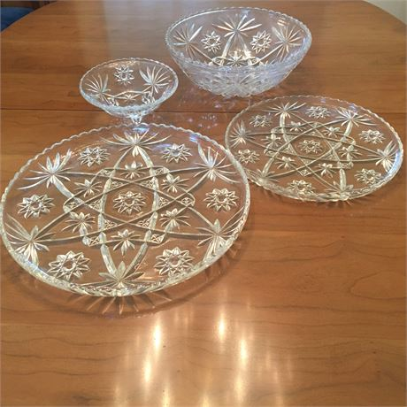 Large Lot of Cut Glass Serving Dishes