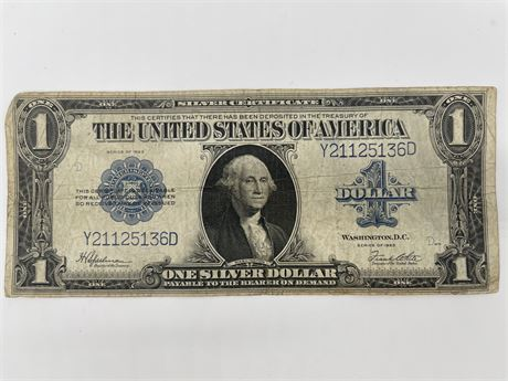"""1923 US One Dollar Silver Certificate """"Horse Blanket"""" Large Bank Note Blue Seal"""
