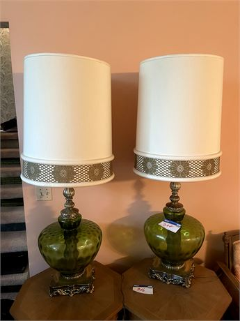 Matching Enormous Retro Vintage Lamps with Shades