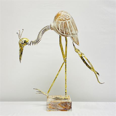 """Large 24"""" Brass and Wood, Mixed Media Crane Sculpture"""