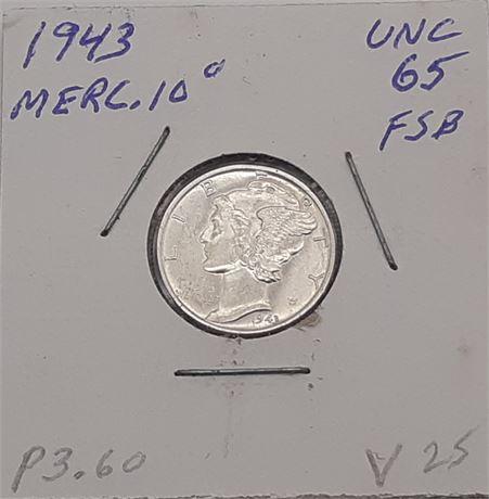 1943 Silver Mercury Dime Stunning Gem Full Split Bands