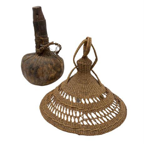 African Kenyon Turkana Gourd and Zulu Sato Hat
