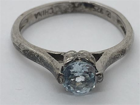 Aquamarine Sterling Silver Ring Size 6 1/2