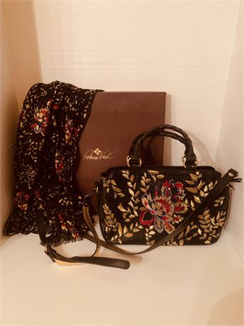 Patricia Nash Quality Leather Hand Bag with Scarf
