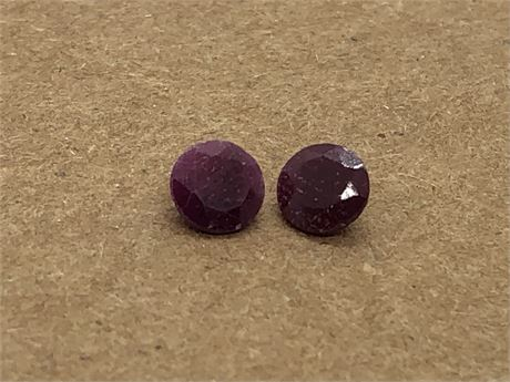 Two Red Ruby Gems Set of Loose Rubies