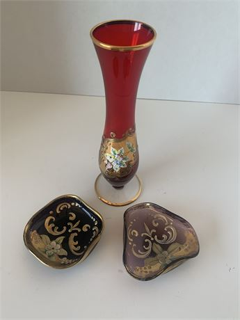 Purple and red  hand-painted glass lot
