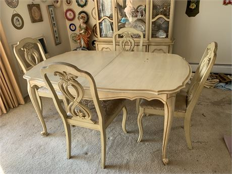French provincial dining room table and 4 chairs