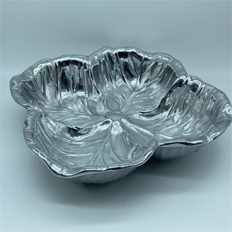Vintage Wilton Armetale Cabbage Leaf Serving Bowl/Dipping Bowl with box