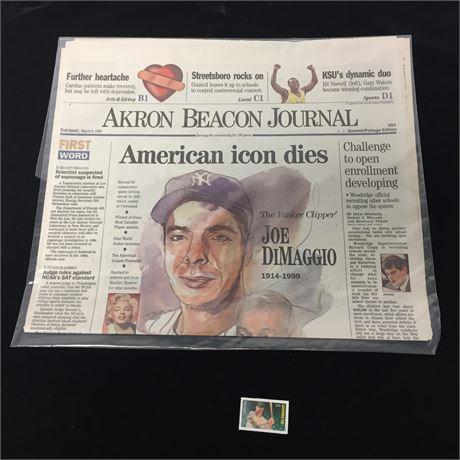 Joe DiMaggio ABJ March 9, 1999 & Stamp