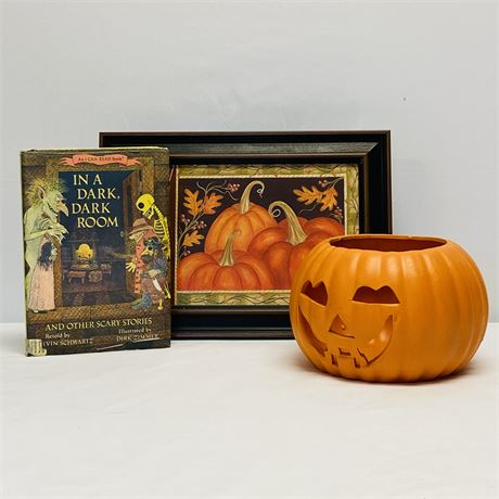 Halloween Decor Lot with Ceramic Pumpkin, Wall Hanging and Vintage Book