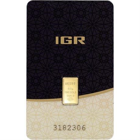 1/2 Gram IGR 24 Karat [999.9 Fine] Gold Bar in Assay With. Card