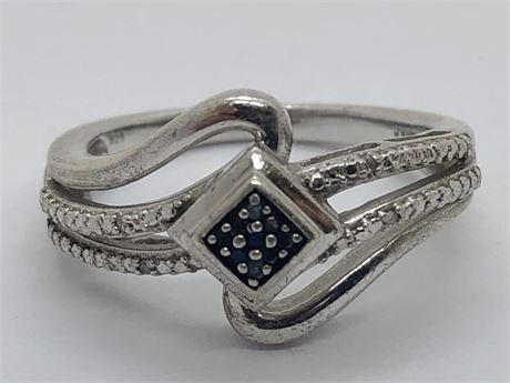 Diamond Sterling Silver Ring Size 6 1/2