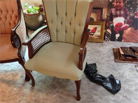 Vintage Rolled Back and Caned Occasional Side Chair