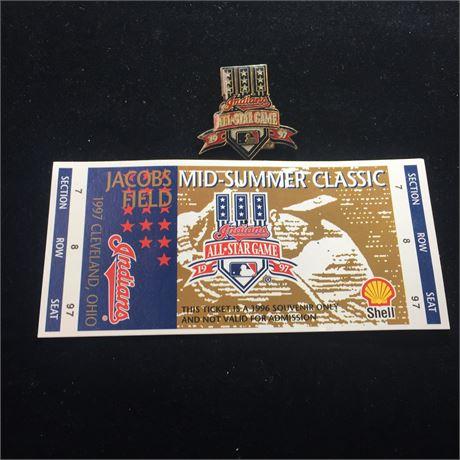 1997 All-Star Game Ticket Stub & Pin