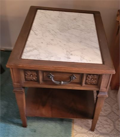 Vintage Marble Top Occasional Side Table