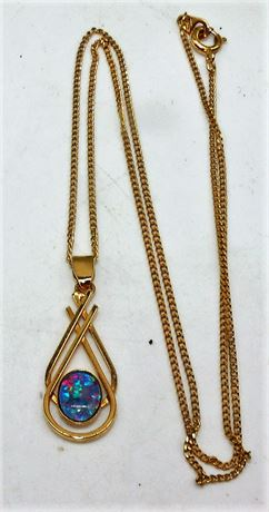 Sterling opal on chain