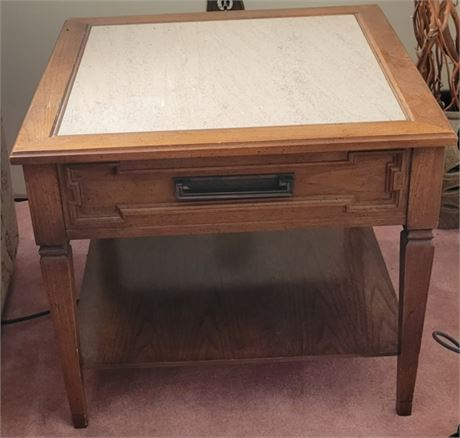 Vintage Side Table Marble Inlay