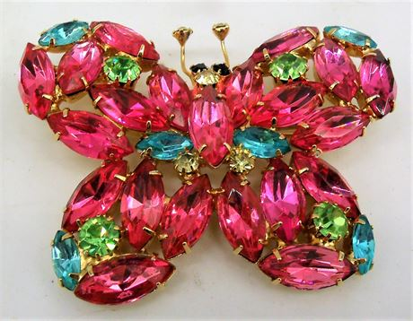 Colorful stone butterfly pin