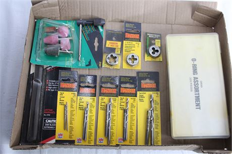 Hex Die, Grinding Stones, Tap & Drill Bit Sets and O-RIng Assortment