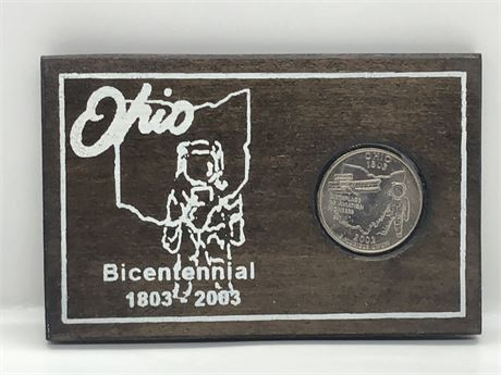 Mint Ohio Bicentennial 2002 Ohio State Quarter Coin in Wood Plaque