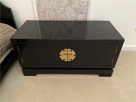 Beautiful Contemporary Asian Style Low Nightstand-Black
