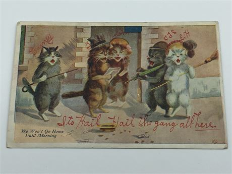 Antique 1909 Illustrated Drinking Singing Cat Troupe Postcard