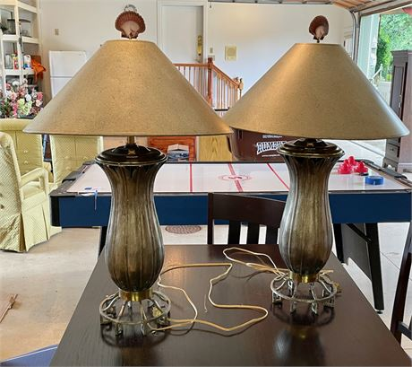 Pair of Silver Leaf Form Table Lamps