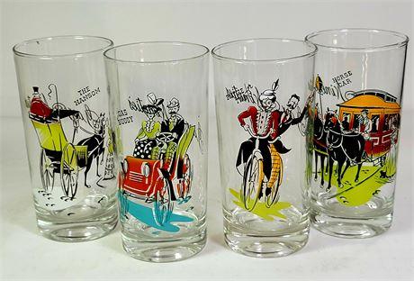 Vintage Gay Nineties Glasses Set of 4