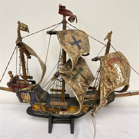 Vintage wooden Santa Maria Ship with stand