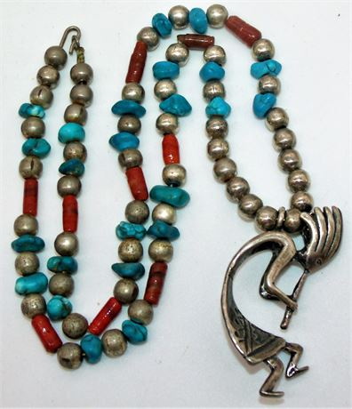 Indian Kokopelli Sterling Turquoise Coral