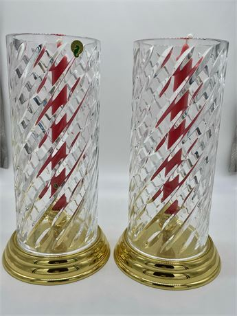 Pair of Waterford Candle Shades with Brass Candlesticks