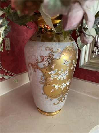 Italian Gold Encrusted Vase with Flowers